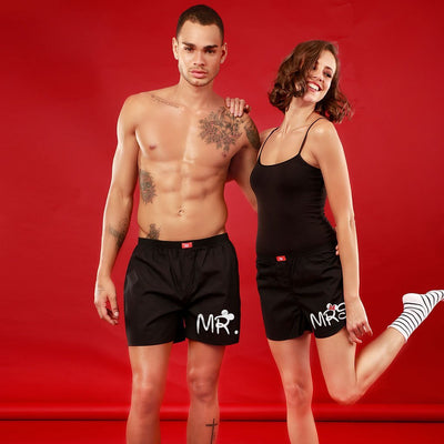 Mr / Mrs, Matching Black Couple Boxers