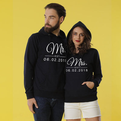 Mr And Mrs Personalised Black Hoodies For Couples