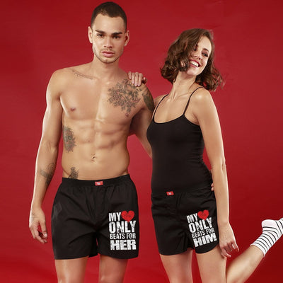 Heart Beat, Matching Black Couple Boxers