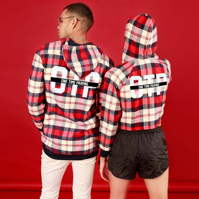 OTP (Woven Pattern), Matching Hoodie For Men And Crop Hoodie For Women
