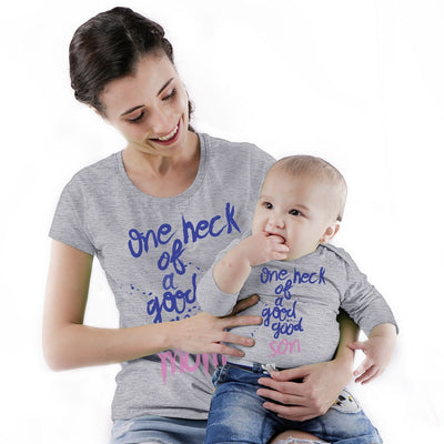 One Heck Of A God Mom & Son Bodysuit And Tees