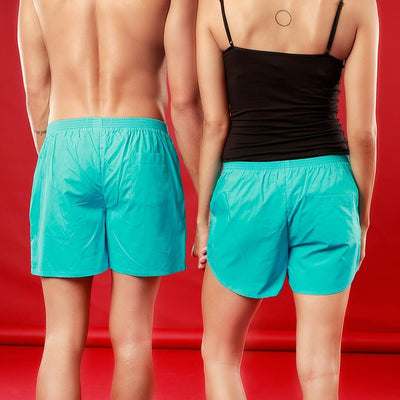 One Love, Matching Turquoise Couple Boxer