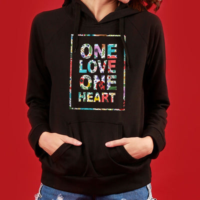 One Love (Black) Matching Hoodies For Couples