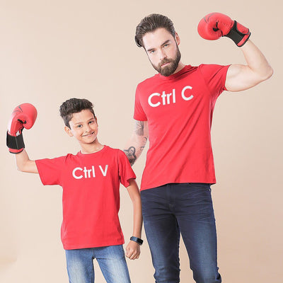 Red Ctrl C/Ctrl V Father-Son Tees