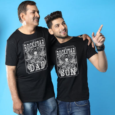 Rockstars Dad And Son Matching Adult Tees