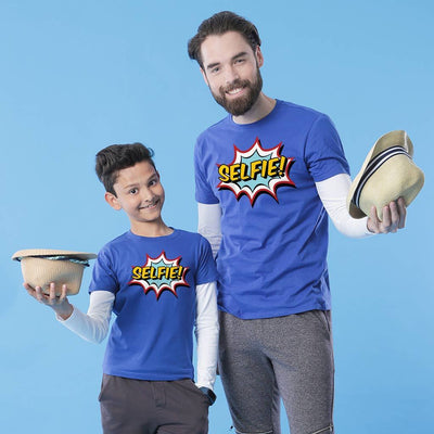 Royal Blue Selfie Father-Son Tees