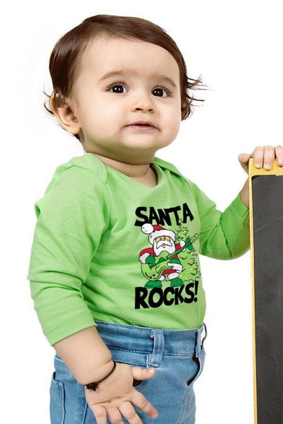 Santa Rocks, Dad And Baby Bodysuit And Tee