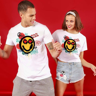 Smiley, Matching Couple Crop Top And Tee