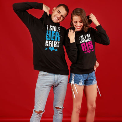 I Stole His/Her Heart, Matching Black Hoodie for Couple
