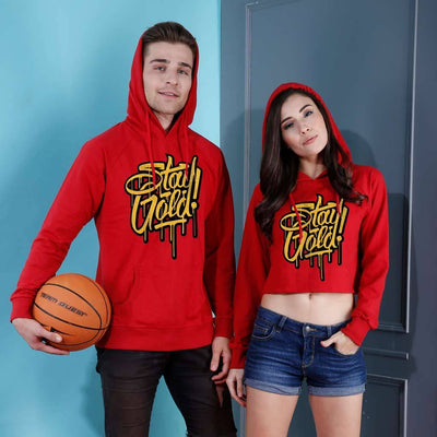 Stay Gold, Matching Red Hoodie For Men And Crop Hoodie For Women