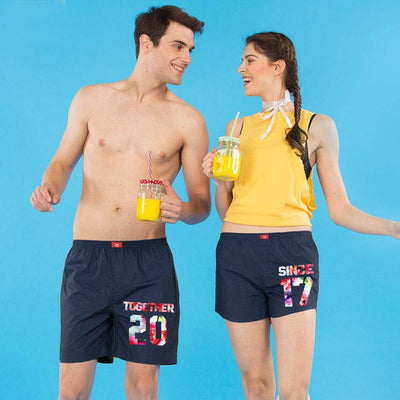 Together Since, Personalize  Matching Navy Blue Couple Boxers