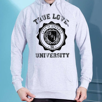 University Of Love, Matching Grey Hoodie For Men And Crop Hoodie For Women