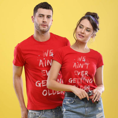 Never Getting Older! (Red) Matching Couple Tees