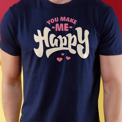 You Make Me Happy Matching Couples Valentines Day Crop Top & Tee