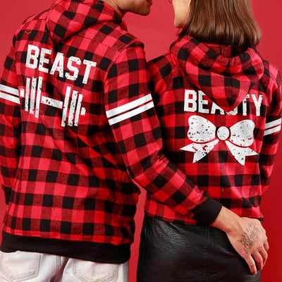 Beauty And The Beast (Woven Pattern), Matching Hoodie For Men And Crop Hoodie For Women