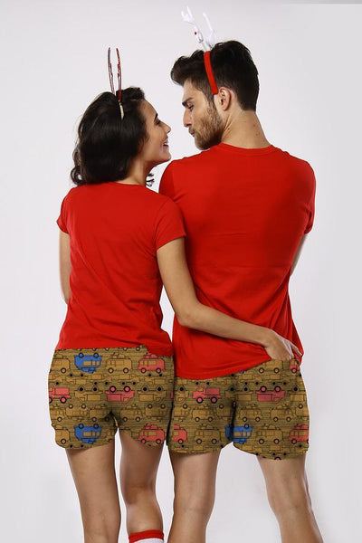 Come And Ride With Me Similar Cotton Boxers For Couples