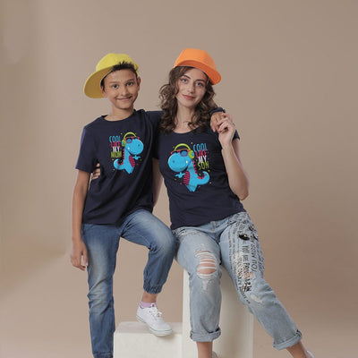 Dino Cool, Mom And Son Matching Tees