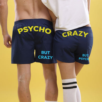 Psycho But Crazy (Blue), Matching Couples Boxers