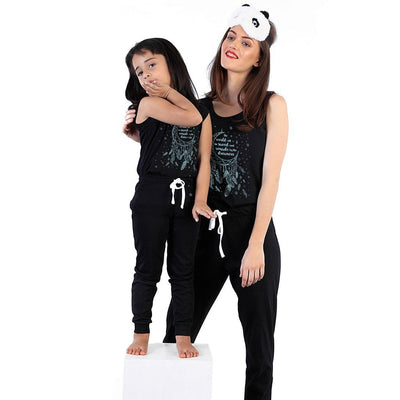 Dream catcher (black) Matching Sleep Wear For Mom And Daughter