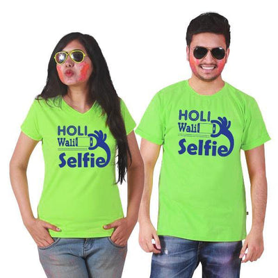 Holi Wali Selfie Couple Tees