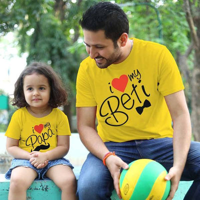 I Love My Papa/Beti, Matching Dad And Daughter Matching Tees