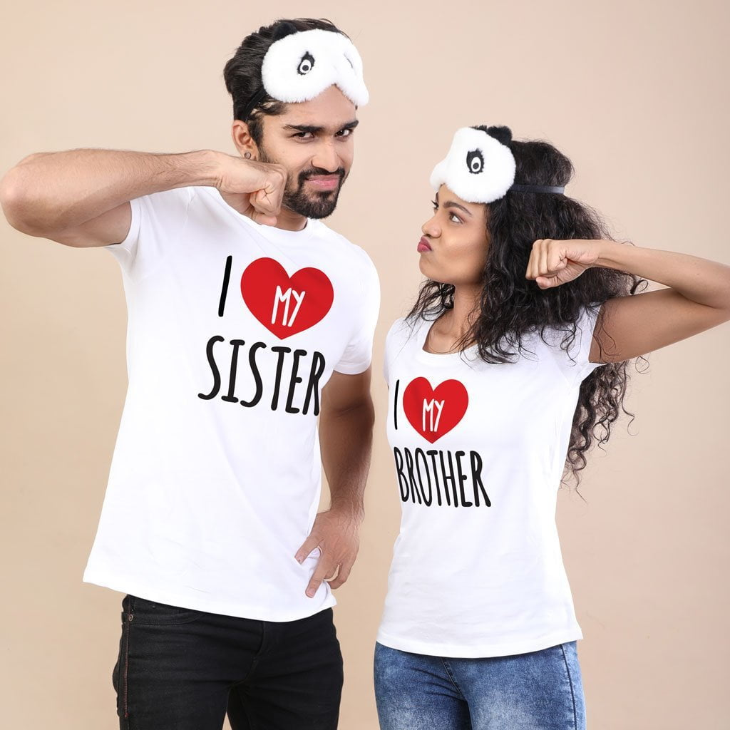 classic style of 2019 popular brand best wholesaler I Love My Brother/Sister,Matching Tees For Brother And Sister Adults