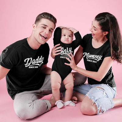Mommy/Daddy/Baby Since, Matching Tees And Bodysuit For The Family