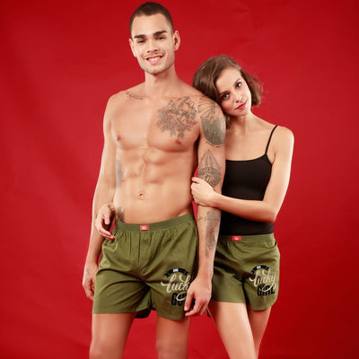 One Lucky Guy / Girl, Matching Olive Green Couple Boxers