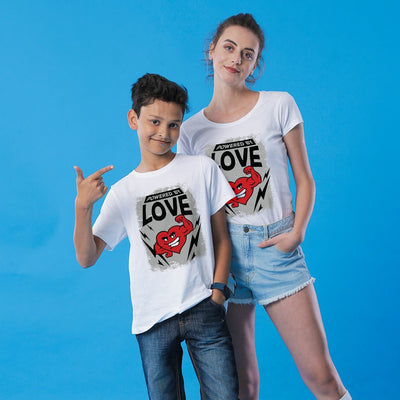 Powered Love, Mom And Son Matching Tees
