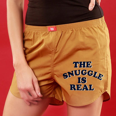 The Snuggle Is Real, Matching Mustard Couple Boxers