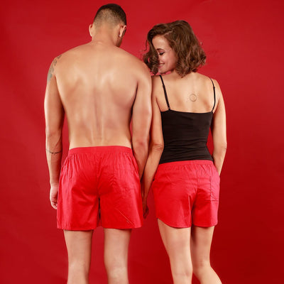 US, Matching Red Couple Boxers