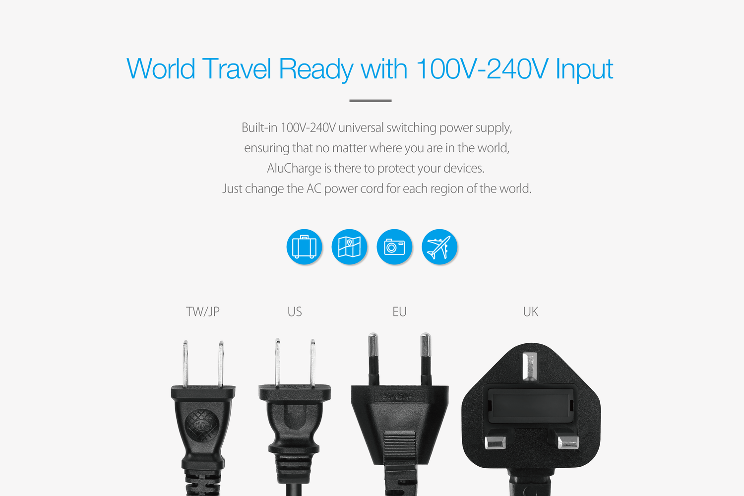 AluCharge™ US Power Cord