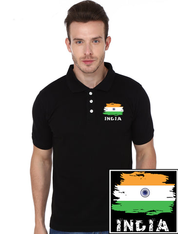 great proud indian polo black t shirt