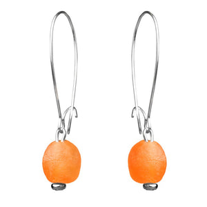 Long round ørering, orange - fra Pernille Bülows fairtrade smykkekollektion