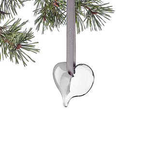 Heart Christmas ornament, clear/grey