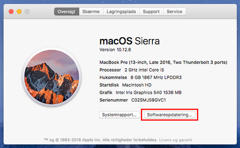 Softwareopdatering af Mac og macbook