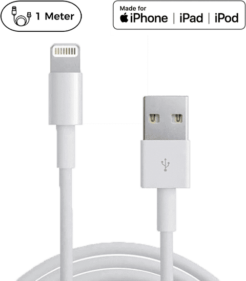 Originalt Apple MFi lightning kabel. 5 års garanti! - 1 Meter