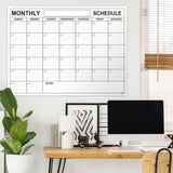 "Dry Erase Monthly Calendar 36""x48"" Month Reusable Wall Planner Includes 4 Markers 1 Eraser and Mounting Tape"