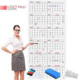 "Dry Erase Yearly Calendar 36""x75"" Month Reusable Wall Planner Includes 4 Markers 1 Eraser and Mounting Tape"