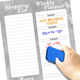 "Magnetic Dry Erase Weekly Shopping List 11""x17"" Colored Markers and Eraser"