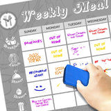 "Magnetic Dry Erase Meal Planner 11""x17"" Markers and Eraser Included"