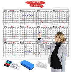 "Dry Erase Yearly Calendar 60"" X 45"" Horizontal  Month Reusable Wall Planner Includes 4 Markers 1 Eraser and Mounting Tape"