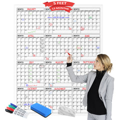 "Dry Erase Yearly Calendar 45"" X 60"" Vertical Month Reusable Wall Planner Includes 4 Markers 1 Eraser and Mounting Tape"