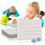 5 Pack Dry Erase Ruled Lap Boards,  9X12 inch Lined Whiteboard (Double sided White Boards) Markers and Erasers Included