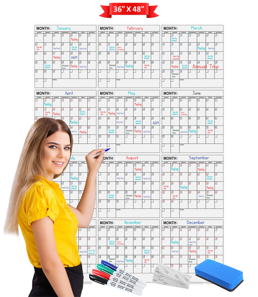 "Dry Erase Yearly Calendar 36"" X 48"" Vertical Month Reusable Wall Planner Includes 4 Markers 1 Eraser and Mounting Tape"