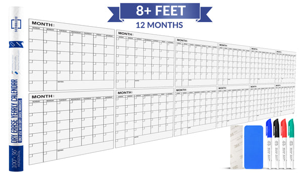 "Dry Erase Yearly Calendar 100"" X 36"" Month Reusable Wall Planner Includes 4 Markers 1 Eraser and Mounting Tape"