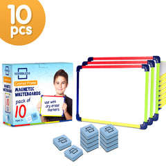 10 Pack Dry Erase Magnetic Colored frame Whiteboards, 9X12 inch
