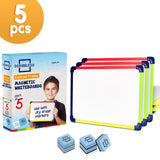 "Scribbledo Colored Frame Magnetic Dry Erase White Boards Pack of 5 Boards 9"" X 12"" Whiteboard (Erasers Included)"