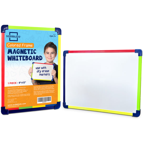 "Scribbledo Colored Frame Magnetic Dry Erase White Board 9"" X 12"" Whiteboard"