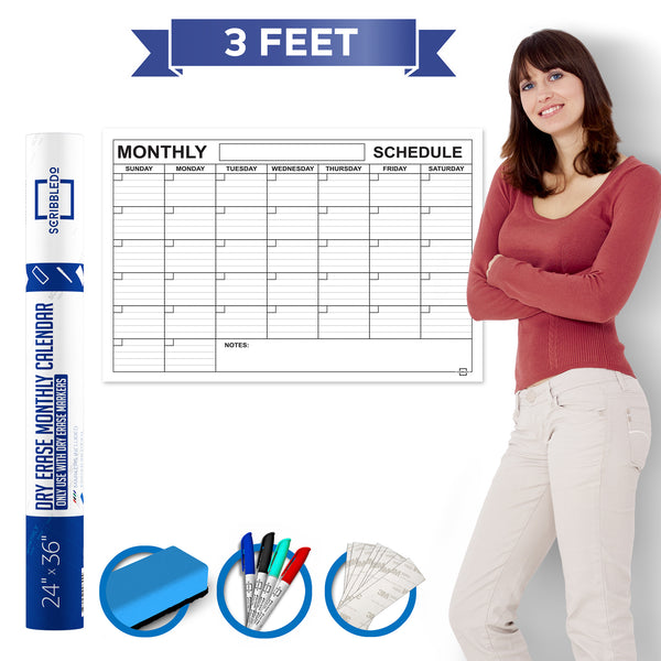 "Dry Erase Monthly Calendar 24"" X 36"" Month Reusable Wall Planner Includes 4 Markers 1 Eraser and Mounting Tape"